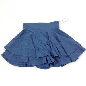 New Girls Five Loaves Two Fish Ruffled Skirt Blue